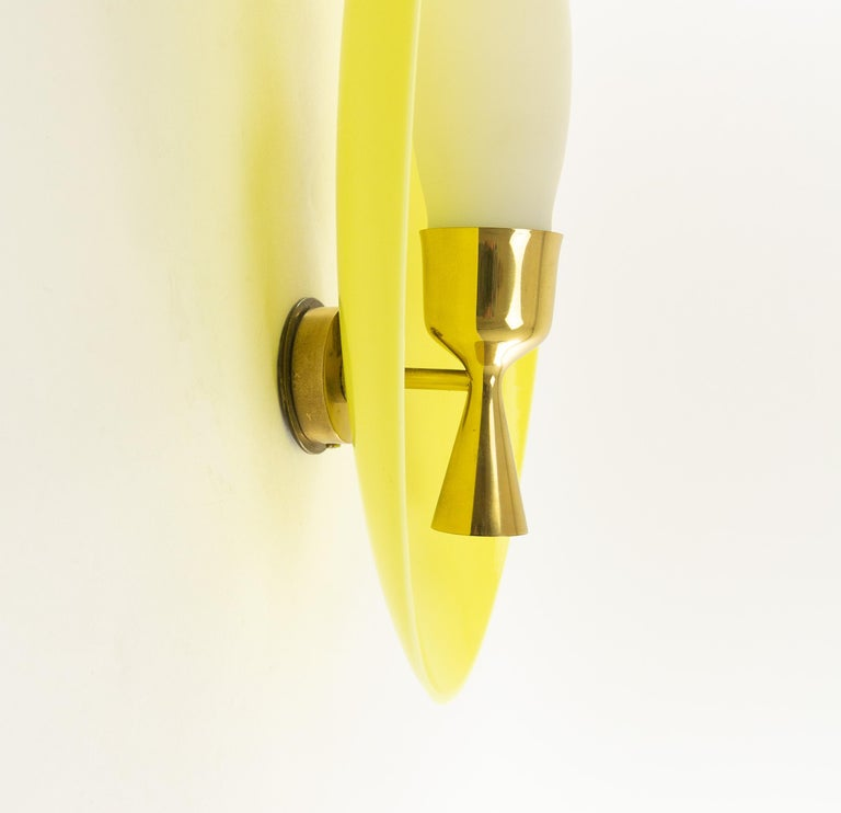 Opaline Glass Wall Fixture by Angelo Lelii for Arredoluce, 1950s For Sale