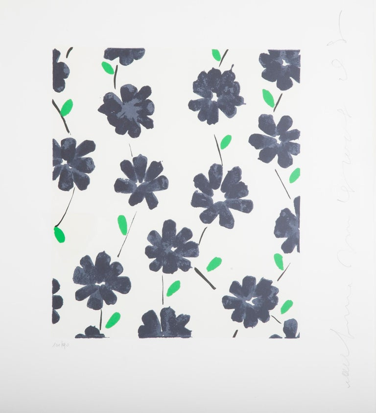"""A screen print by Donald Sultan from his """"Wallflowers"""" suite of 35 prints. Printed in Jaffa by Jacob and Monique Har-El there are 190 portfolios in the edition. In all there were 150 colors used in the printing process for the 35 prints done over a"""