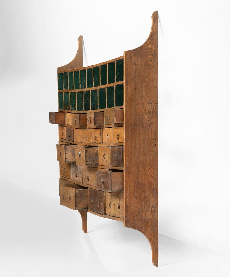 19th Century Wall Hanging Bank of Drawers For Sale