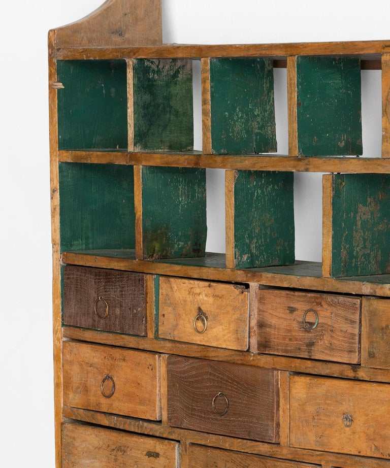 Fruitwood Wall Hanging Bank of Drawers For Sale