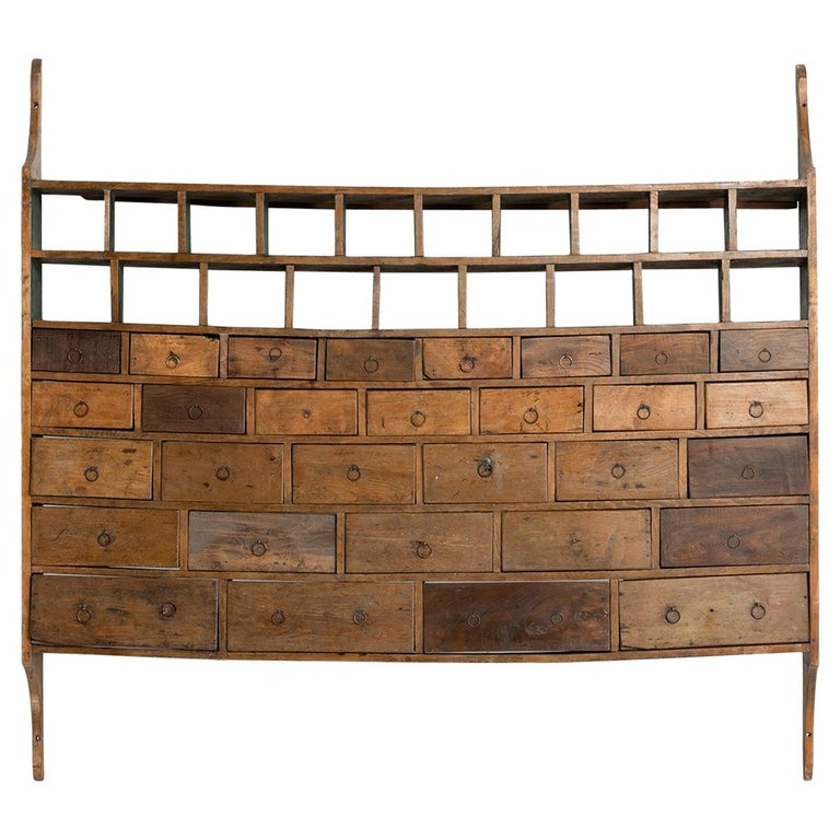 Wall Hanging Bank of Drawers For Sale