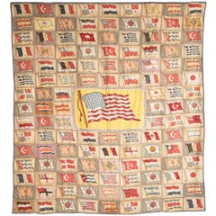 Wall Hanging / Quilt Composed of Cigar Box Painted Felt Flags