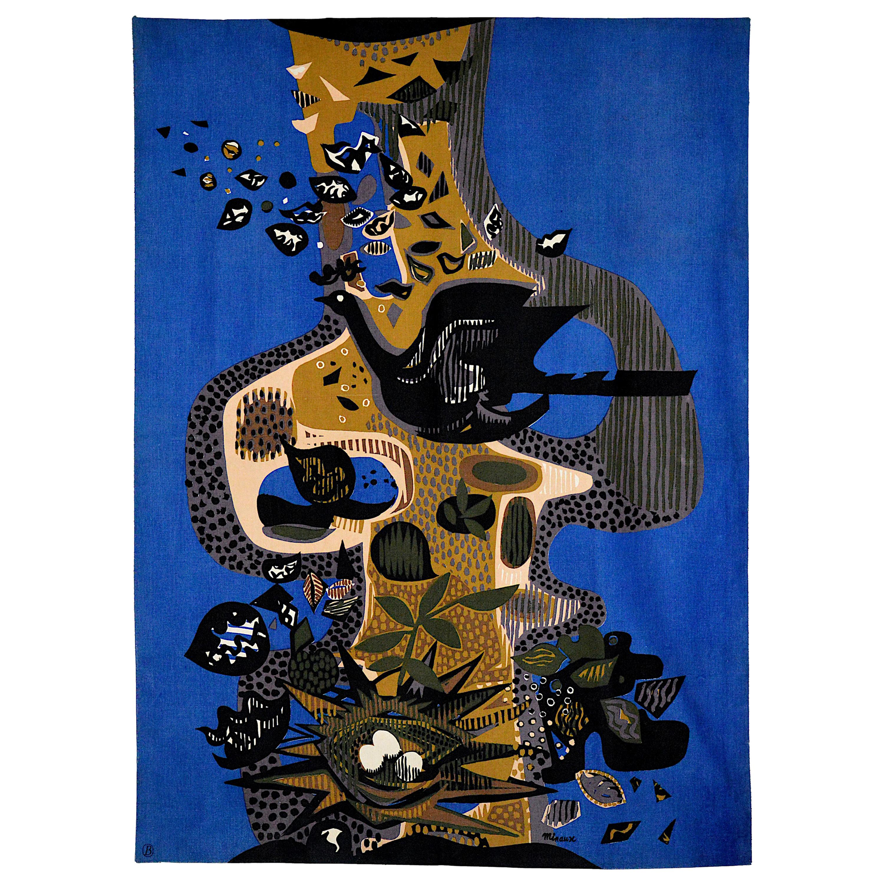 """Wall Hanging Tapestry """"The Bird And Its Nest"""" by Andre Minaux, Paris, Ca. 1965"""
