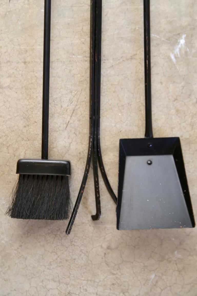 Mid-Century Modern Wall Hung Donald Deskey Fireplace Tools For Sale