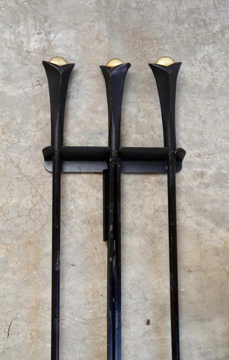 Wall Hung Donald Deskey Fireplace Tools In Good Condition For Sale In St. Louis, MO
