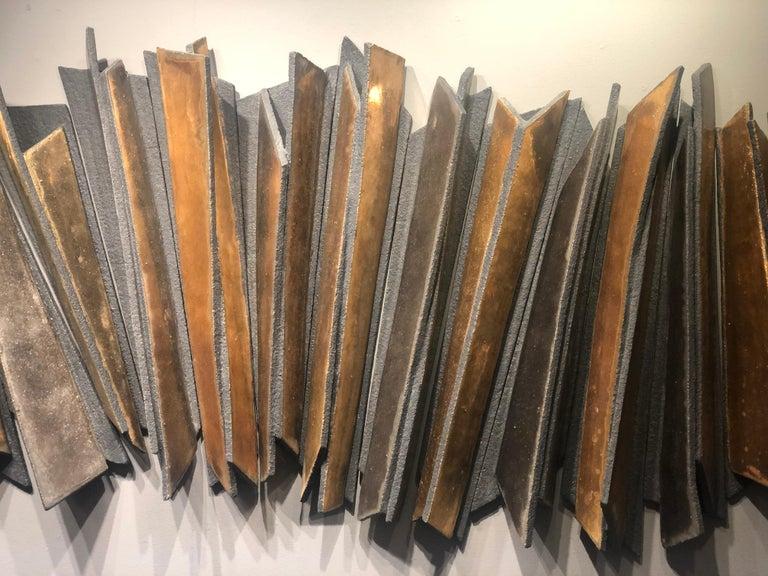 British Wall Installation Ceramic 'Stoneware', 24-Carat Gold and Platinum, 21st Century For Sale