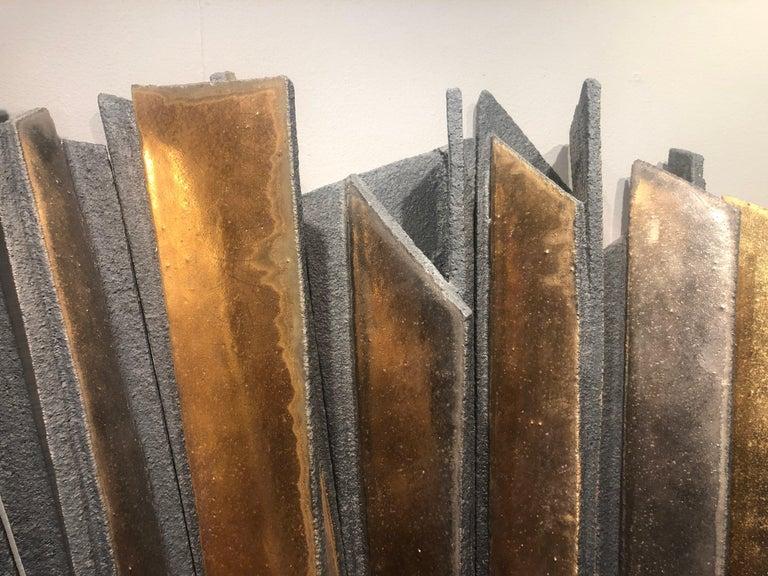 Glazed Wall Installation Ceramic 'Stoneware', 24-Carat Gold and Platinum, 21st Century For Sale