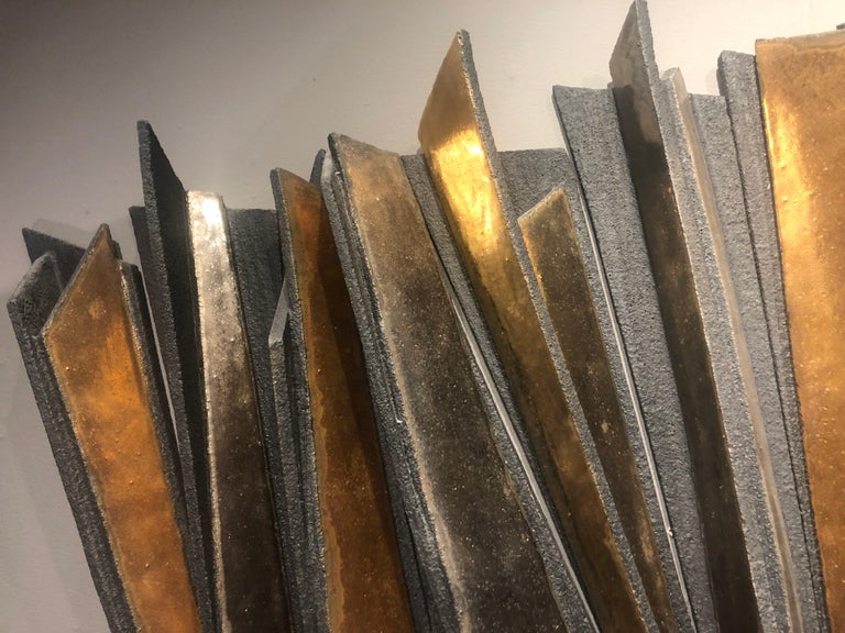 Wall Installation Ceramic 'Stoneware', 24-Carat Gold and Platinum, 21st Century In New Condition For Sale In London, GB