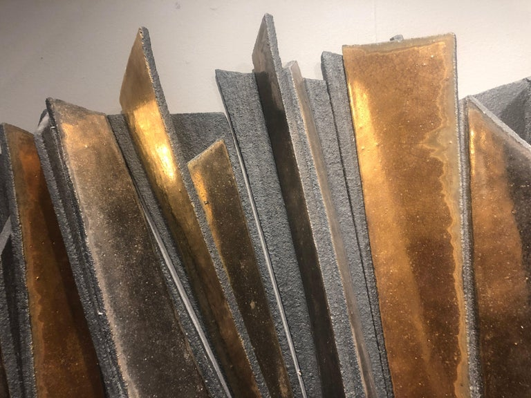 Contemporary Wall Installation Ceramic 'Stoneware', 24-Carat Gold and Platinum, 21st Century For Sale