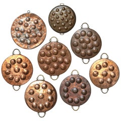 Wall Kitchen Collection of Eight 19th Century French Copper Egg Poacher Pans