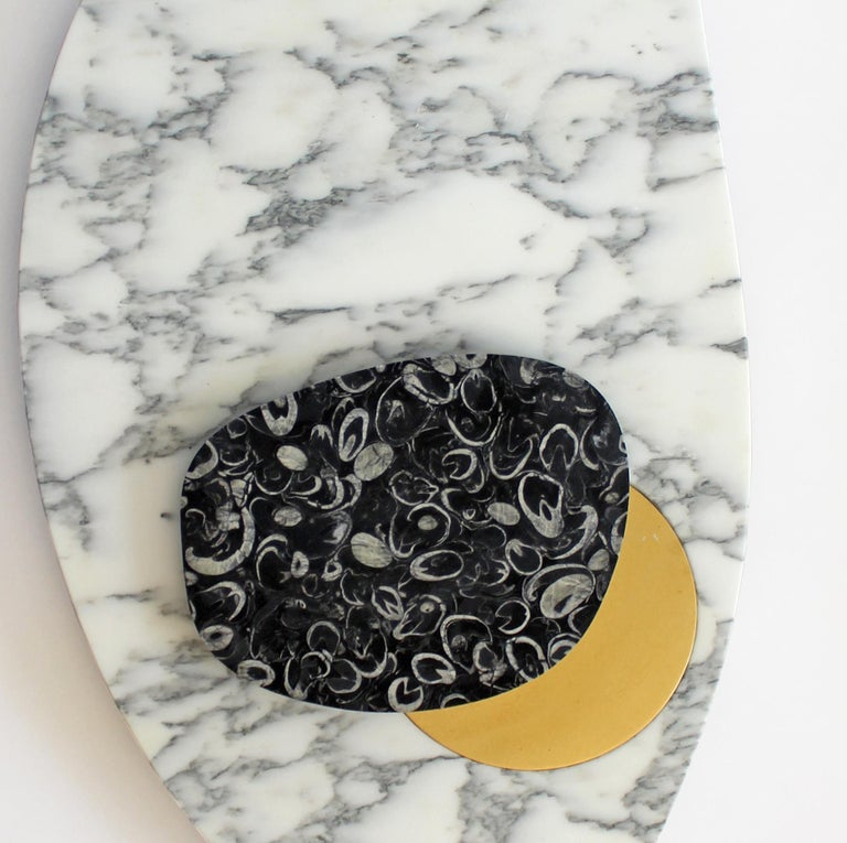 Organic Modern Wall Lamp in Marble and Brass, Sébastien Caporusso For Sale