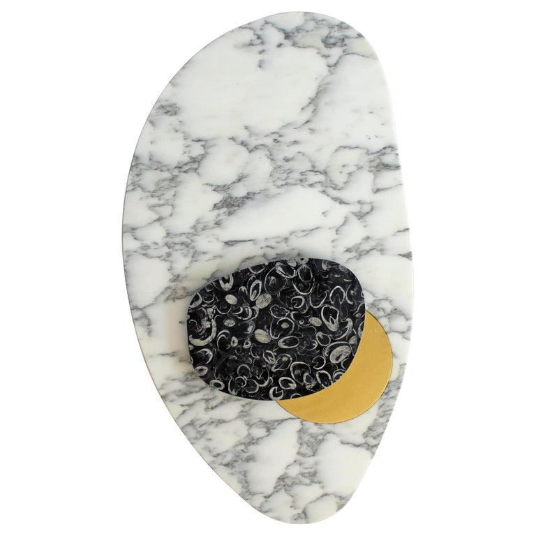 Wall Lamp in Marble and Brass, Sébastien Caporusso For Sale