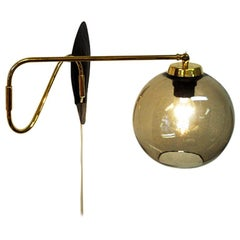 Wall Lamp on a Brass Arm with Glassdome Høvik Verk, Norway, 1950s