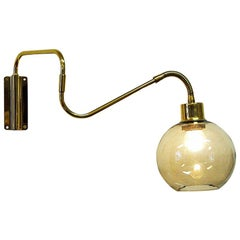 Wall Lamp on Brass Arm with Glass Dome T. Røste & Co, Norway, 1960s
