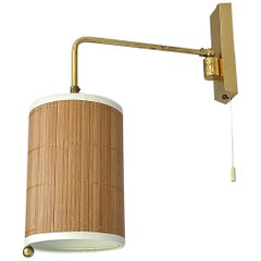 Wall Lamp Paavo Tynell Taito Oy Kalmar Style Brass Cane Wood Shade 1950s Sconce