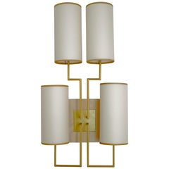 Wall Lamp Sconce in Gold Patina and White Lamp Shades