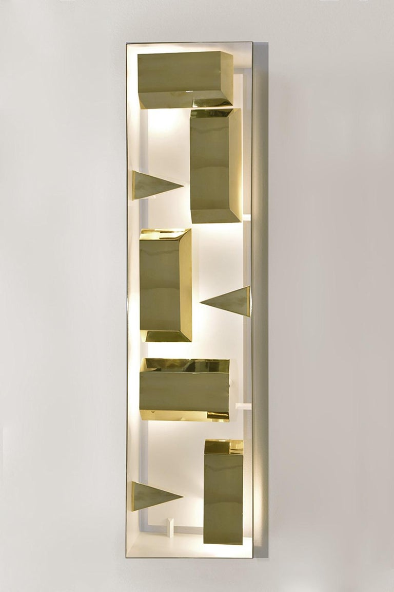 Wall lamp rectangular 'Screen of Light' Gio Ponti Limited Edition 2012 2017 polished brass