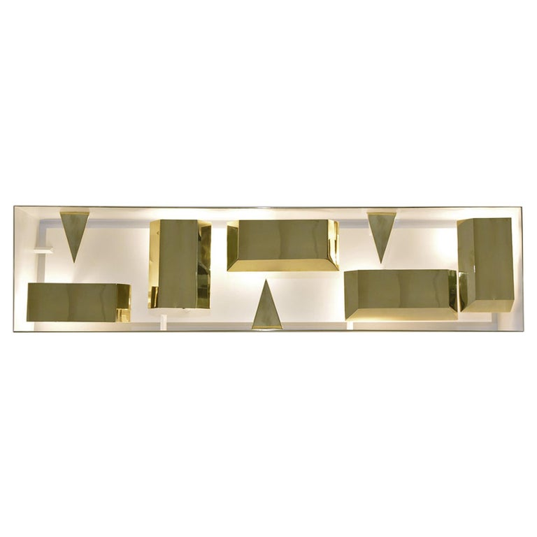 Wall Lamp Screen of Light Design Gio Ponti Italy Limited Edition Polished Brass For Sale