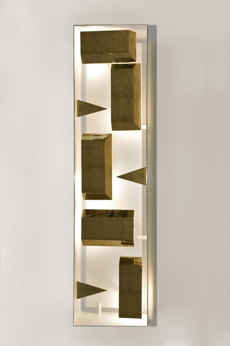 Wall lamp rectangular 'Screen of Light' designed by Gio Ponti limited edition 2012-2017 not treated brass  Wall sculpture light, wall sconce in polished not treated brass, a lamp of timeless iconic design. Handcrafted product, realized by Pollice