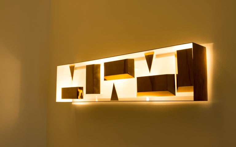 Italian Wall Lamp Screen of Light Gio Ponti Limited Edition 2012-2017 Not Treated Brass For Sale