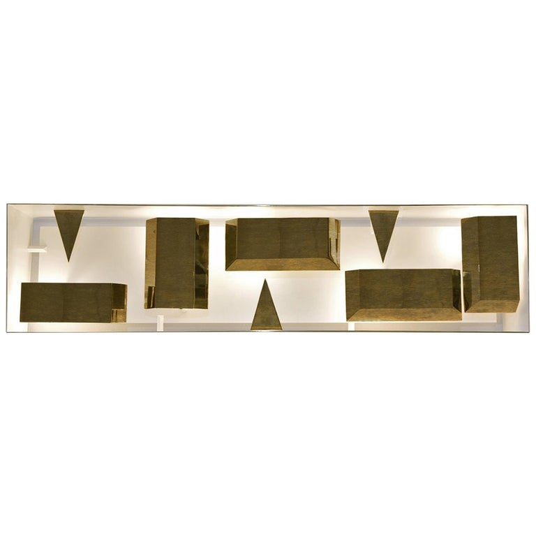 Wall Lamp Screen of Light Gio Ponti Limited Edition 2012-2017 Not Treated Brass For Sale