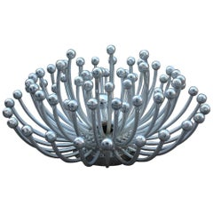 Wall Lamp Sculpture Pistillo Studio Tetrarch for Valenti 1970 Silver Round