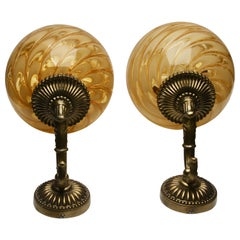 Wall Lamps Golden Swirl Globe Murano and Ornate Brass Mounted