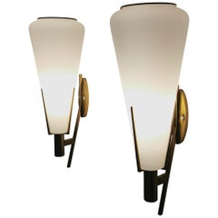 Wall Lamps in Brass and Opal Glass Attributed to Stilnovo Midcentury, Italy 1950