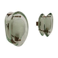 Wall Lamps Sconces by Max Ingrand for Fontana Arte in Glass and Brass Mod.2093