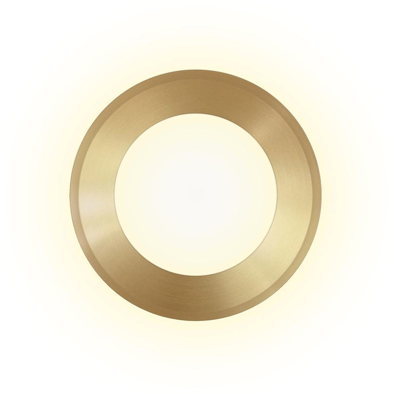 American Wall LED Lamp in Brushed Brass and Leather, Dims on Rotation For Sale