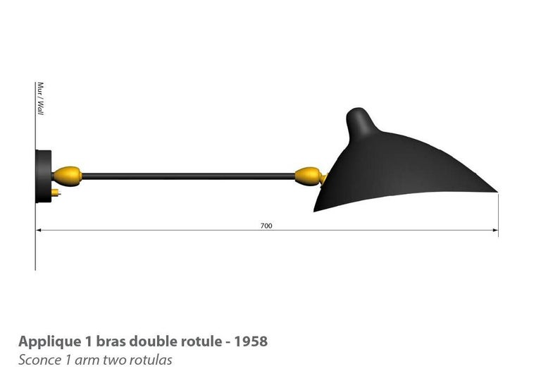 """Wall Light with one double-articulated arm originally designed by Serge Mouille in 1953. Currently produced in France by Editions Serge Mouille This is a licensed re-edition from the """"Black Shapes"""" series. Aluminum reflector with a white interior"""