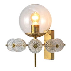Wall Light in Brass and Structured Glass