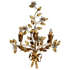 Wall Light in Brass with Crystal Flowers
