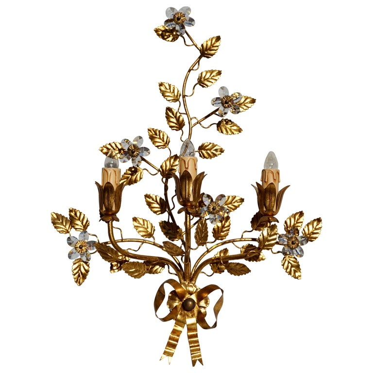 Wall Light in Brass with Crystal Flowers For Sale