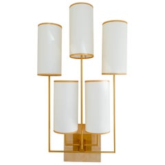 Wall Light, Sconce in Gold Patina And Chestnut Wood