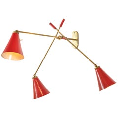Wall Light with Three Articulating Red Cone Shaped Shades, Italy, 1950s