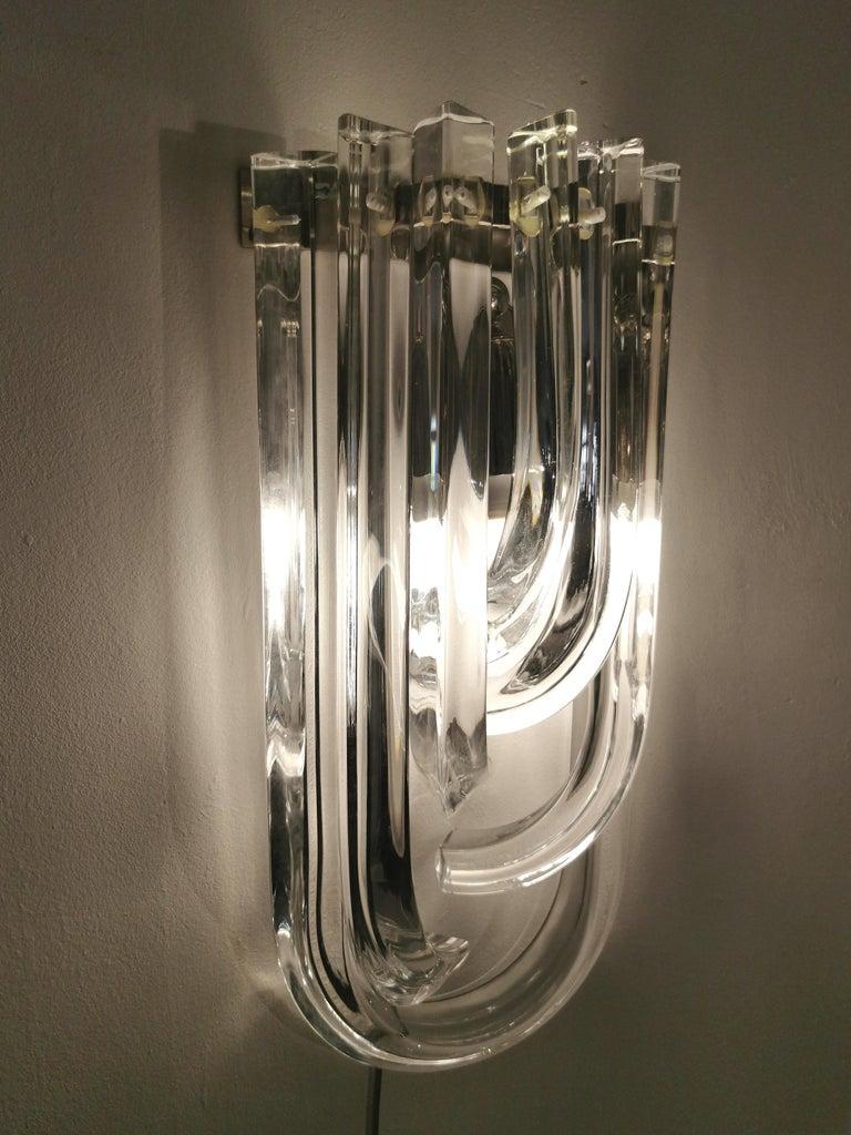 Wall Lamps Murano Glass by Venini Metal Aluminum Chromed Italy 1980s Set of 2 4