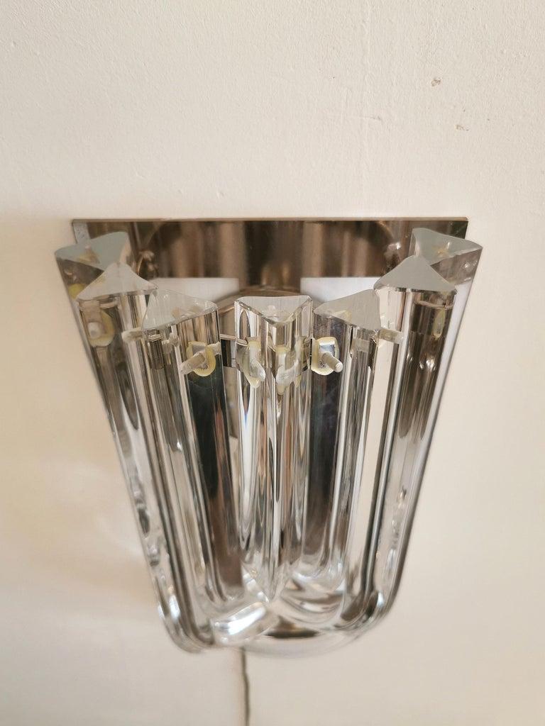 Wall Lamps Murano Glass by Venini Metal Aluminum Chromed Italy 1980s Set of 2 5
