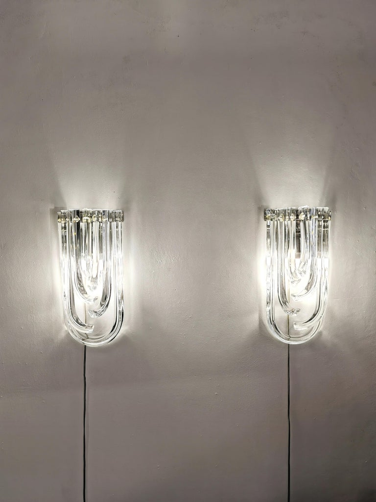 Elegant and unusual set of 2 large wall lamps by Venini with Murano crystalline
