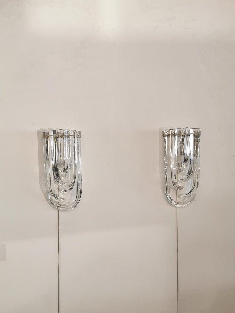 Wall Lamps Murano Glass by Venini Metal Aluminum Chromed Italy 1980s Set of 2 1