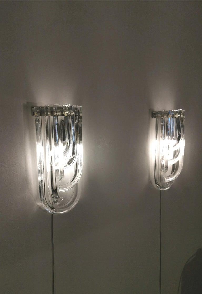 Wall Lamps Murano Glass by Venini Metal Aluminum Chromed Italy 1980s Set of 2 2