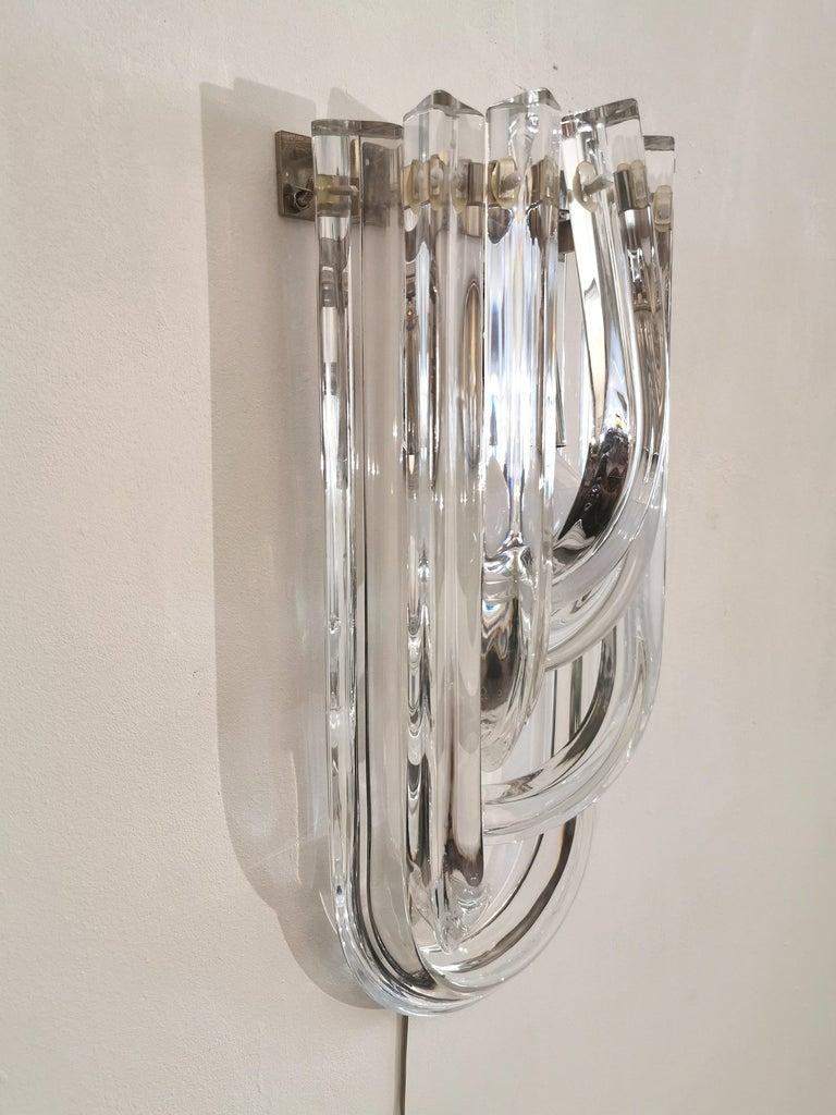 Wall Lamps Murano Glass by Venini Metal Aluminum Chromed Italy 1980s Set of 2 3