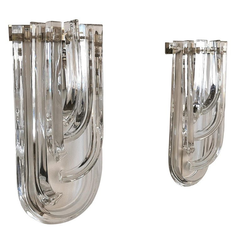 Wall Lamps Murano Glass by Venini Metal Aluminum Chromed Italy 1980s Set of 2