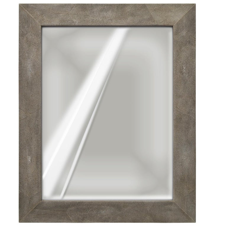 Wall Mirror Artistic Grey Moonstone Ecological Shagreen Decoration Frame For Sale