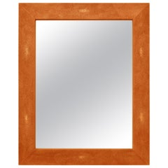 Wall Mirror Artistic Scagliola  Ecological Shagreen Decoration orange color