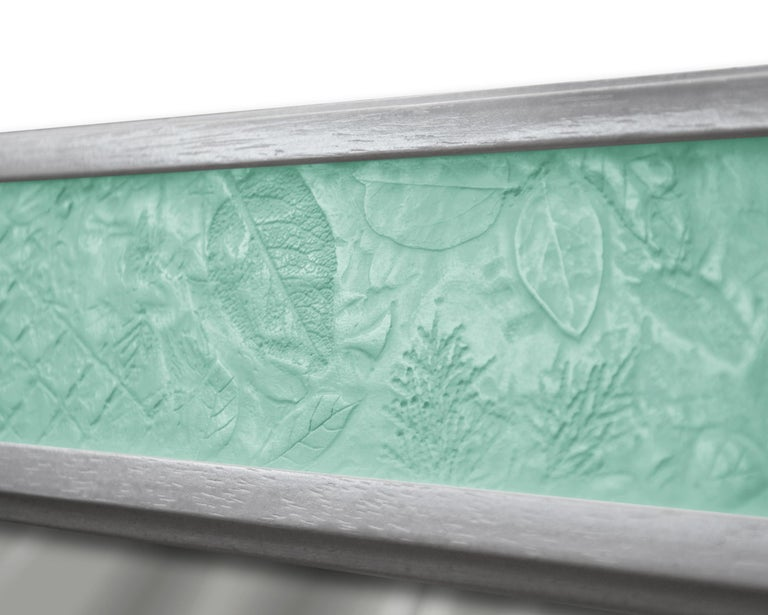 Italian Wall Mirror Artistic Pattern Green Scagliola Decoration Light Bas-Relief For Sale