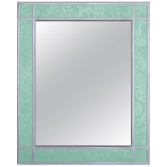 Wall Mirror Artistic Pattern Green Scagliola Decoration Light Bas-Relief