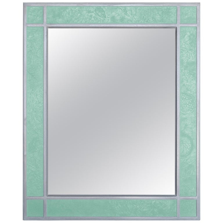 Wall Mirror Artistic Pattern Green Scagliola Decoration Light Bas-Relief For Sale