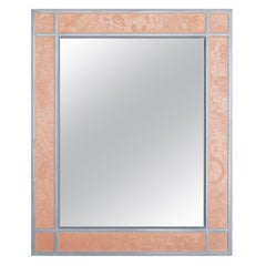 Wall Mirror Artistic Pattern Pink Scagliola Decoration with a Light Bas-Relief