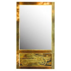 Wall Mirror Brass Acid Etched by Bernhard Rohne for Mastercraft 1970s